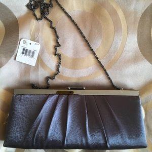 shiny metallic grey clutch evening bag